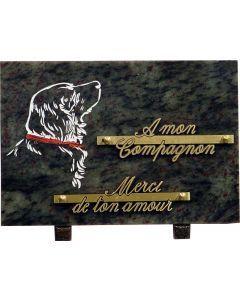 Plaque funéraire gravure de chien 17x25cm