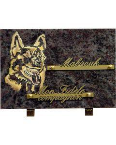 Plaque funéraire gravure dorée de chien 17x25cm