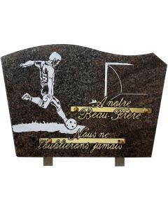 Plaque funéraire gravure footballeur et but 20x30cm