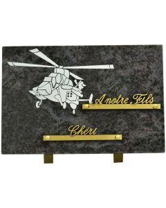 Plaque funéraire gravure hélicoptère 17x25cm