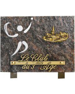 Plaque funéraire gravure pelote basque 15x20cm