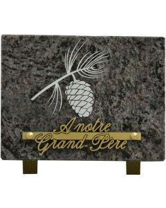 Plaque funéraire gravure pomme de pin 15x20cm