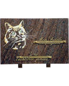 Plaque funéraire gravure tête de chat 20x30cm