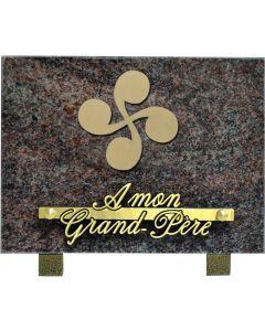 Plaque funéraire motif acrylique croix basque 15x20cm