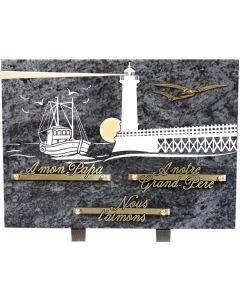 Plaque gravure bateau et phare 25x35cm