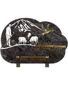 Plaque gravure berger et bronze colombe 20x30cm