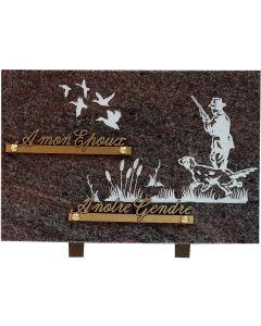 Plaque gravure chasseur et oiseaux 20x30cm