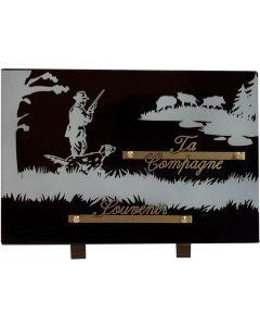 Plaque gravure chasseur et sangliers 20x30cm