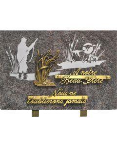 Plaque gravure chasseur marécage 20x30cm