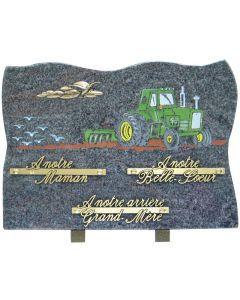 Plaque gravure couleur tracteur dans un champ 25x35cm