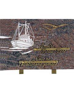 Plaque gravure de bateau et bronze mouettes 20x30cm