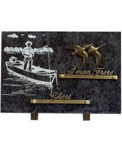 Plaque gravure de pêcheur barque et bronze 2 oies 20x30cm