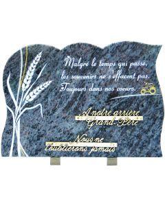 Plaque gravure épis de blé et inscription 25x35cm