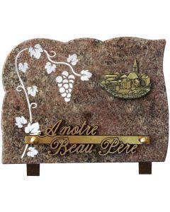 Plaque gravure grappe de raisin 15x20cm