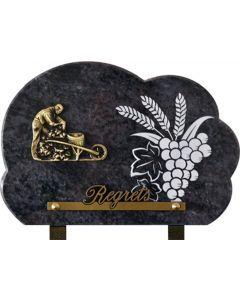 Plaque gravure grappe de raisin 17x25cm
