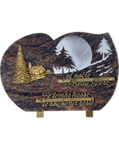 Plaque gravure montagne et bronze chalet sapin 20x30cm