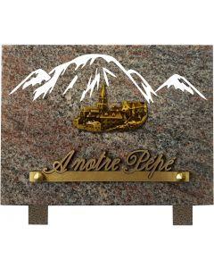 Plaque gravure montagnes et bronze village 15x20cm