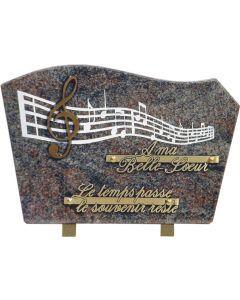 Plaque gravure musique et bronze clef de sol 20x30cm