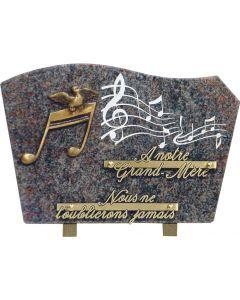 Plaque gravure musique et bronze note de musique 20x30cm