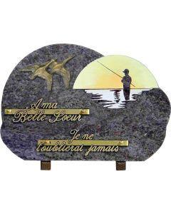Plaque gravure pêcheur couché de soleil et bronze oies 20x30cm