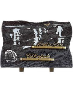 Plaque gravure pêcheurs de coquillages 20x30cm