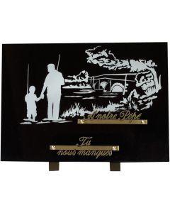 Plaque gravure pêcheurs père et fils 25x35cm