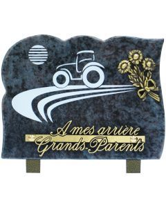 Plaque gravure tracteur et bronze tournesol 15x20cm