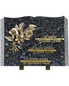 Plaque livre bronze bouquet de fleurs