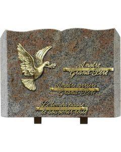 Plaque livre bronze colombe