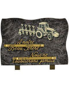 Plaque motif acrylique tracteur et outil 17x25cm