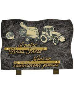Plaque motif acrylique tracteur et presse à foin 17x25cm