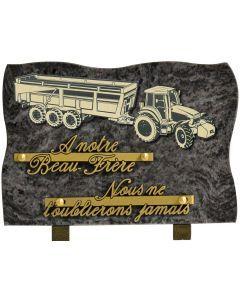 Plaque motif acrylique tracteur et remorque 17x25cm