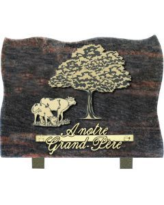 Plaque motif acrylique vaches et arbre 17x25cm
