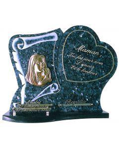 Plaque parchemin et cœur bronze Vierge à l'enfant