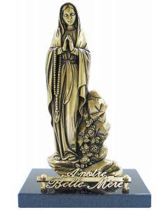 Statue Vierge Marie et roses debout sur socle