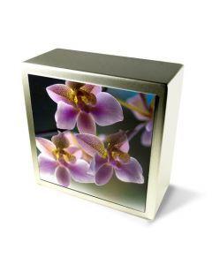 Zenla - Urne inox motif orchidées