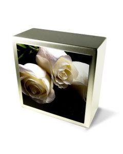Zenla - Urne inox motif rose blanche