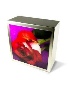 Zenla - Urne inox motif rose rouge