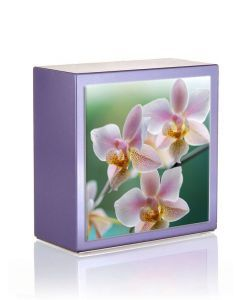 Zenla Parme - Urne inox motif orchidées