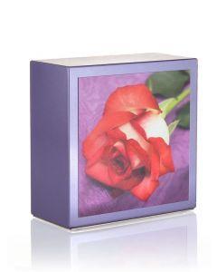 Zenla Parme - Urne inox motif rose rouge